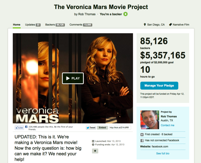 Can't believe the Veronica Mars Movie is happening. Pop POP.